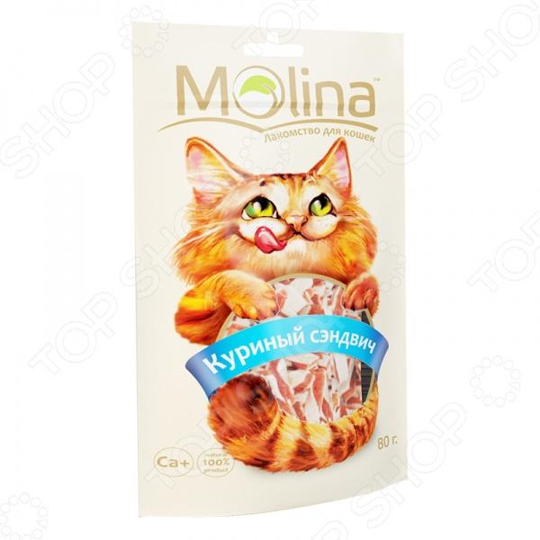 Лакомство для кошек Molina 70597 Куриный сэндвич это вкусное и полезное угощение для вашего питомца, которое будет приятно грызть. Натуральное мясное лакомство эффективно очищает зубы, предотвращает появление и развитие зубного камня в межзубном пространстве. Лакомство также служит надежной профилактикой заболевания десен. Дополнительно сэндвич обогащен витаминами, минералами и такими полезными веществами, как таурин и жирные кислоты, которые благотворно влияет на кожу и шерсть питомца. Угощение идеально подходит в качестве поощрения и баловства. Лакомство с куриным вкусом выполнено из высококачественных натуральных компонентов, без использования искусственных добавок и красителей. Это делает его абсолютно безопасным и полезным для вашего четвероногого друга, а натуральные обогатители вкуса делает его ещё и очень вкусным. Внимание! Лакомство не должно заменять кошке полноценный рацион, поэтому рекомендуется давать не более одного или двух снэков в день. Также, не забывайте о свежей и чистой воде, которая должны быть всегда в миске вашего питомца.