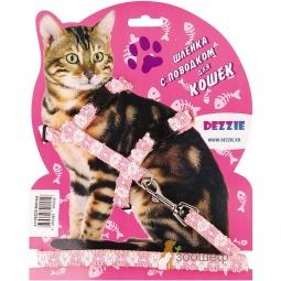 фото Набор для кошек: шлейка и поводок DEZZIE «Флаффи». Цвет: розовый. Размер шлейки: 27-46 см