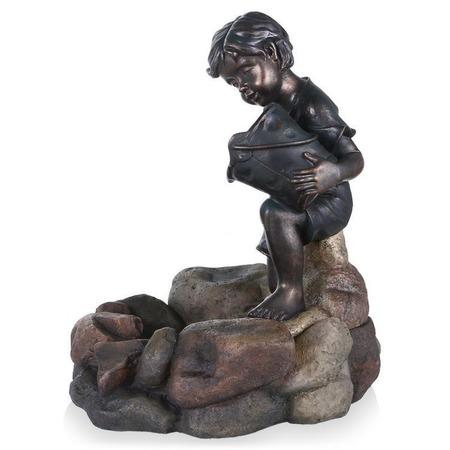 Купить Фонтан садовый GREEN APPLE GWXF 01185 «Девочка с рыбкой»
