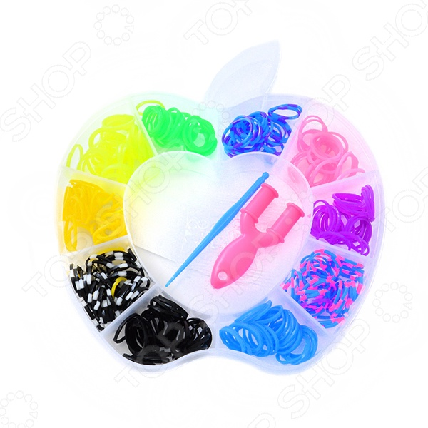 Набор резиночек для плетения Colorful Bands Яблочко NR009 это уникальный набор для детского творчества. С помощью резиночек ребенок сможет самостоятельно создать множество украшений: браслетов, подвесок, колечек. Вещь, сделанная своими руками, будет отличным подарком друзьям и семье. В набор входит 700 резиночек и крючок.