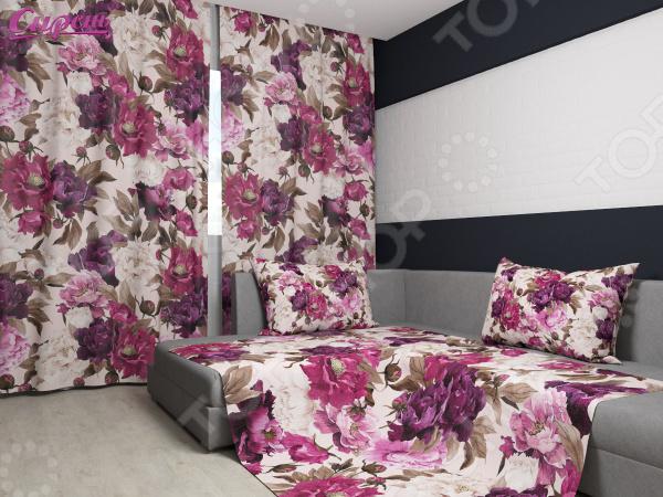 Комплект: фотошторы и покрывало Сирень «Цветочный бархат»Фотошторы<br>Комплект: фотошторы и покрывало Сирень Цветочный бархат элемент, способный украсить и оживить интерьер любой комнаты. Застелите ваш диван или кровать этим покрывалом, и привычная мебель станет еще уютнее, чем раньше. А шторы, выполненные в едином стиле с покрывалом, станут завершающим штрихом в оформлении комнаты. При этом такой комплект может стать хорошим подарком близкому человеку. В комплекте вы найдете:  Две фотошторы, размер каждой из которых составляет 145х260 см 3 см .  Покрывало размером 145х220 см 3 см . Оцените основные преимущества комплекта из коллекции бренда Сирень :  Оригинальный дизайн придаст изюминку интерьеру.  Сделано из качественных износостойких материалов. Изображение на ткани долго не линяет и не выгорает.  Рисунок нанесен на материал при помощи специальной технологии, создающей эффект 3D. Смотрится очень эффектно. Покрывало и шторы выполнены из ткани габардин, состоящей на 100 из полиэстера. На поверхности полотна заметны диагональные рубчики, полученные в результате саржевого плетения в процессе производства. В результате изделие отличается своей прочностью и долговечностью, сохраняет первоначальный вид в течение длительного времени. Рекомендуется ручная стирка при температуре 30 C или в стиральной машине в деликатном режиме. Шторы крепятся при помощи шторной ленты под крючки .<br>