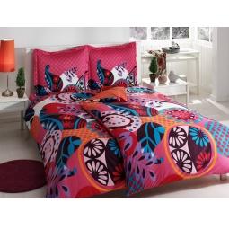 фото Комплект постельного белья TAC Evas. Семейный. Цвет: розовый