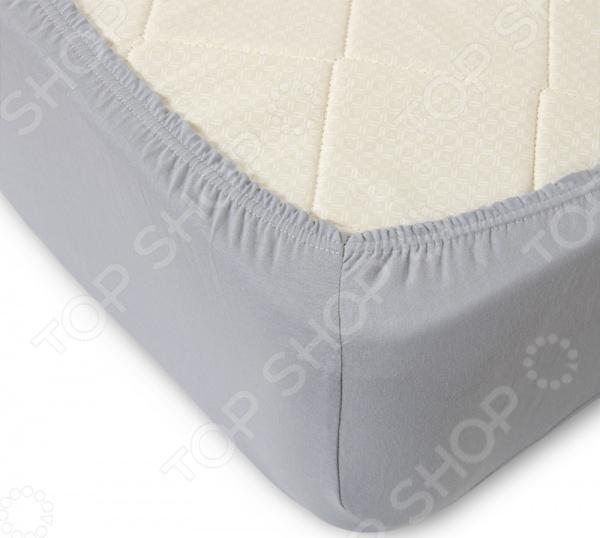 Простыня ТексДизайн на резинке. Цвет: серый