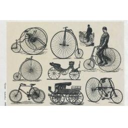 Купить Карта декупажная Кустарь «Ретро велосипеды на серо-бежевом фоне»