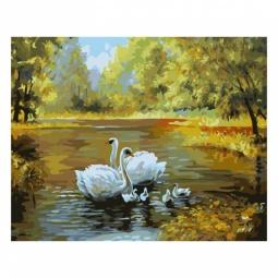 фото Набор для раскрашивания по номерам Белоснежка «Лебеди в пруду»