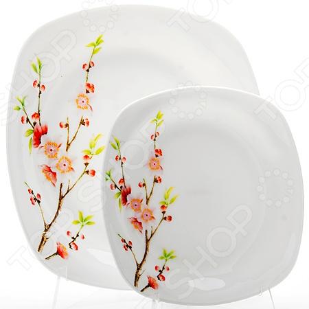 Набор тарелок Loraine LR-23688Обеденные тарелки<br>Набор тарелок Loraine LR-23688 идеально подходит для сервировки как праздничного застолья, так и ужина в тихом и уютном домашнем кругу. Он состоит из 7 предметов прямоугольной тарелки шириной 28 см и шести тарелок шириной 20 см. Представленный комплект также можно использовать в качестве сервировочной посуды в местах общественного питания. Набор тарелок Loraine LR-23688 изготовлен из высококачественной стекло-керамики опаловое стекло и украшен декоративным рисунком. Посуда из стекла позволяет максимально сохранить полезные свойства и вкусовые качества пищи. Современный стиль и универсальная цветовая гамма изделий придадут вашему ужину еще большей гармонии, эмоциональной наполненности и добавят нотку романтичности.<br>