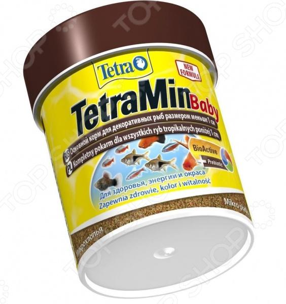 Корм для мальков рыб Tetra Min BabyВитамины и добавки. Корм для рыб<br>Корм для мальков рыб Tetra Min Baby смесь для ежедневного употребления для мальков длина до 1см . Подходит для всех видов декоративных рыб, восполняя запас всех необходимых витаминов и микроэлементов. Корм в течение длительного времени может находиться в аквариуме, не теряя своих свойств и не вызывая бактериальной мути. Подлежит длительному хранению. Корм способствует улучшению пищеварения, за счет чего снижается количество остатков жизнедеятельности рыб. В свою очередь, это ведет к снижению уровня нитратов до 16 , и фосфатов до 10 . Улучшенное качество воды снижает рост водорослей и гарантирует кристально чистую воду. Состав: комбинация большого числа жизненно необходимых витаминов, включая биотин, жирные кислоты Омега-3, стимуляторы иммунитета для повышения сопротивляемости организма.<br>