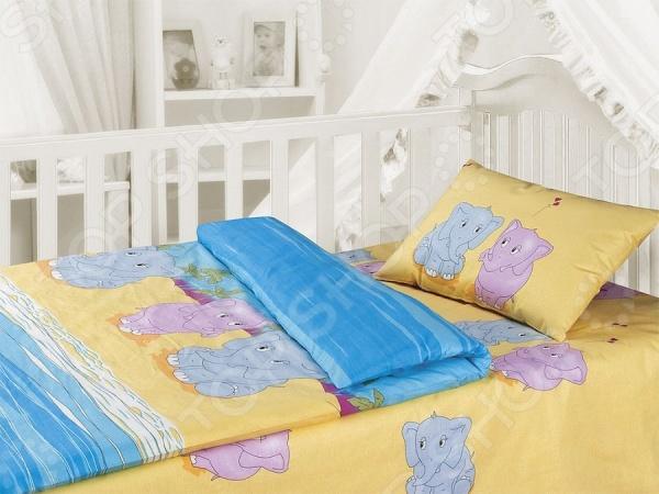 Детский комплект постельного белья Облачко «Слоники»
