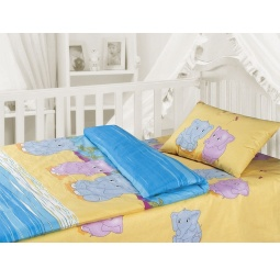 фото Детский комплект постельного белья Облачко «Слоники». Простыня на резинке: да