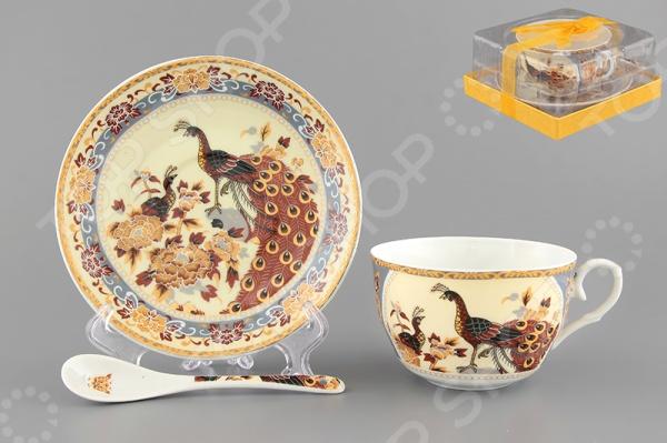 Чашка чайная с блюдцем и ложкой Elan Gallery «Павлин на бежевом» 730471 Elan Gallery - артикул: 534217