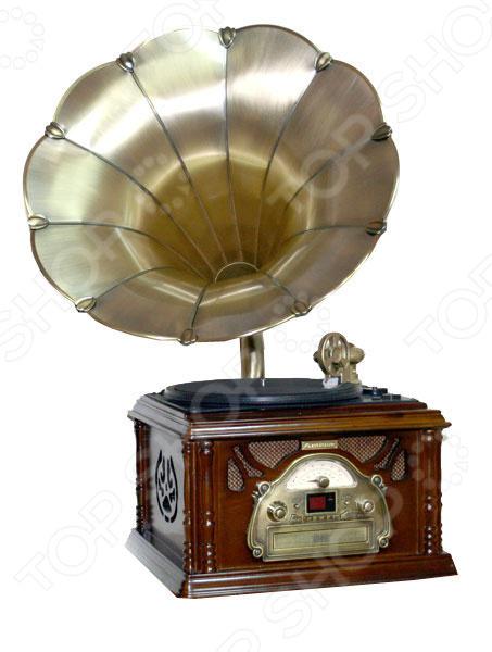 Музыкальный центр-ретро «Граммофон»Виниловые проигрыватели<br>Музыкальный центр-ретро Граммофон станет чудесным подарком для истинных меломанов и ценителей музыкального искусства. Ни для кого не секрет, что грампластинки это не просто дань ретро-моде и предмет собирательства многих коллекционеров, но еще и прекрасная возможность насладиться всей насыщенностью и глубиной звучания, что не под силу ни одному из цифровых аудионосителей. Проигрыватель выполнен в виде ретро-граммофона и снабжен USB-портом, СD-дисководом и радиоприемником с АМ и FM диапазоном.<br>