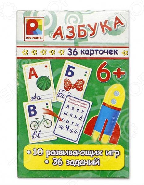 Игра настольная развивающая для детей Радуга «Азбука»Обучающие и развивающие настольные игры<br>Игра настольная развивающая для детей Радуга Азбука это замечательная развивающая игра, которая поможет вам подготовить своего малыша к первым школьным занятиям. В набор входят 36 двусторонних карточек с яркими и красочными картинками и буквами, соответствующим им. На обратной стороне расположены задания на логику. Рассматривая и изучая картинки, ребенок научится читать, считать, познакомится с абстрактными понятиями и окружающим миром. Так как обучение проходит в игровой форме с помощью ярких, цветных картинок, оно будет веселым и максимально эффективным. Играть в такую игру можно как вдвоем, так и целыми группами. Это игровое пособие отлично подойдет для использования дома, в детском саду или на подготовительных занятиях.<br>