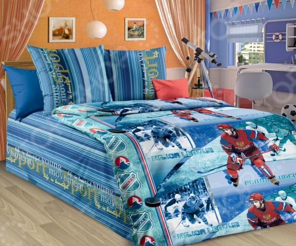 Детский комплект постельного белья Бамбино «Хоккей» комлев и ковыль
