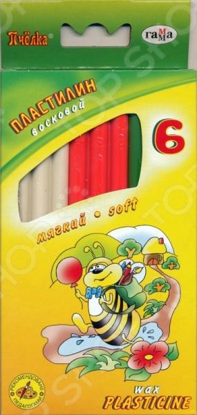 Набор пластилина воскового Гамма «Пчелка»: 6 цветовЛепка из пластилина<br>Набор пластилина воскового Гамма Пчелка : 6 цветов, со стеком - превосходный набор для творчества, который станет полезным и интересным подарком для любого ребенка.Набор включает в себя шесть прямоугольных брусочков разных цветов. Пластилин отлично подходит для лепки различных фигур и форм. Не липнет к рукам и не оставляет жирных пятен, при этом хорошо лепиться друг к другу. Подобные занятия с пластилином развивают творческий потенциал ребенка, воображение, а так же мелкую моторику рук.<br>