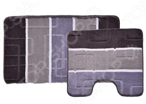 Комплект ковриков для ванной и туалета Dasch «Авангард»Коврики<br>Комплект ковриков для ванной и туалета Dasch Авангард включает в себя два небольших коврика, рассчитанных специально для туалета и ванной комнаты. Один из них имеет прямоугольную форму, а другой фигурную с выемкой под основание унитаза. Коврики выполнены из высококачественного полипропилена и снабжены нескользящим латексным основанием. Благодаря небольшой высоте ворса всего 0,5 см , изделия быстро сохнут и достаточно легко чистятся. Кроме того, коврики также можно стирать. Допускается как ручная, так и машинная стирка при температуре не выше 30 градусов. Подходят для полов с подогревом.<br>