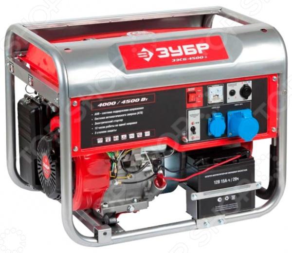 Генератор бензиновый Зубр ЗЭСБ-4500-Э бензиновый генератор hyundai hhy3000f в белгороде