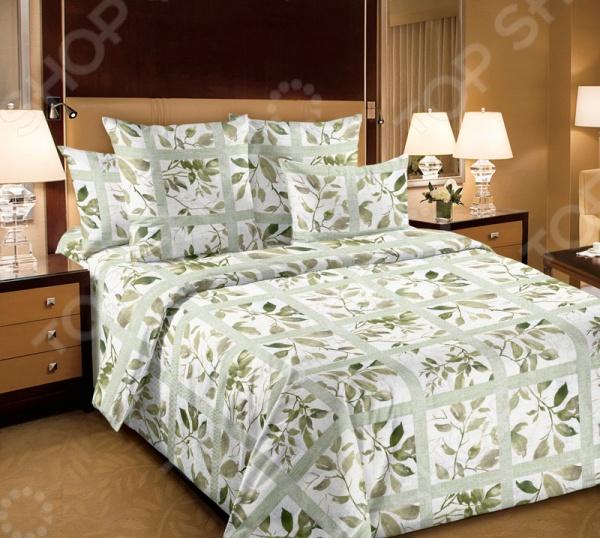 Комплект постельного белья Белиссимо «Аделина». Цвет: зеленый комлев и ковыль