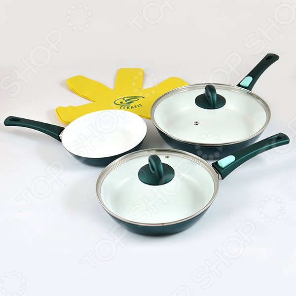 Набор посуды Cerafit Fusion Emerald EditionНаборы посуды для готовки<br>Представляем Cerafit Fusion - Emerald Edition инновационную посуду, изумруд среди керамической посуды с антипригарным покрытием, которую практически невозможно разрушить, обладающую антипригарными свойствами и пригодную для мытья в посудомоечной машине. Уникальность этого набора заключается в сочетании нержавеющей стали, алюминия и керамики, благодаря которым посуда отличается долговечностью и пригодна для эксплуатации в течение многих лет. Сковорода Cerafit Fusion - Emerald Edition изготовлена из невероятно легкого прочного алюминия, благодаря отбортованным кромкам площадь рабочей поверхности сковороды увеличена; поверхность сковороды покрыта прочнейшей керамикой... завершающий слой покрытие изумрудного цвета, удерживающее тепло! Результат невероятно прочная и долговечная сковорода с антипригарным покрытием, устойчивым к появлению царапин. Сковорода изготовлена из экологически чистых материалов! В сковороде Cerafit Fusion - Emerald Edition ручка съемная и взаимозаменяемая, благодаря этому можно готовить пищу в духовке, экономить место на плите и подавать приготовленную пищу в сковороде прямо на стол! Мыть сковороду так легко нужно всего лишь протереть ее влажной салфеткой, или вымыть в посудомоечной машине, храните сковороду в шкафу или в ящике, предварительно отсоединив ручку от сковороды!  Секрет антипригарных свойств подсказала сама природа. По аналогии с лепестками лотоса, отталкивающими грязь и воду, при изготовлении посуды Cerafit Fusion - Emerald Edition используется керамика, отличающаяся свойством превосходно отталкивать воду! Наличие антипригарной поверхности Cerafits подразумевает, что не нужно добавлять жир или масло, соответственно, вы готовите менее калорийную и более полезную пищу! Керамика на посуде Cerafit Fusion - Emerald Edition очень прочная, она устойчивая к появлению царапин или сколов. Сковороды других торговых марок разрушаются при температуре всего 180 градусов, а сково