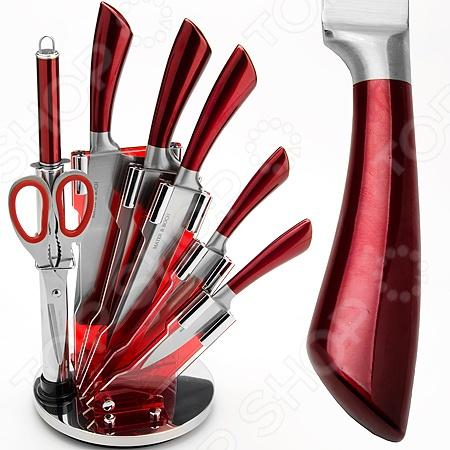 Набор ножей Mayer&amp;amp;Boch MB-24201Ножи<br>Набор ножей Mayer Boch MB-24201 состоит из восьми инструментов, изготовленных из нержавеющей стали, что гарантирует длительный срок службы и высокий уровень износоустойчивости. Ножи с тончайшим лезвием станут для вас верным помощником при нарезке овощей, фруктов и мяса. Поскольку их лезвия не впитывают запахов, вы сможете насладиться естественным вкусом продуктов без металлического привкуса. Кроме ножей в набор вошли и ножницы для зелени, которые умеют аккуратно и эффективно нарезать салат и петрушку. Специальный дизайн ручки из противоскользящего цветного полипропилена и термопластика обеспечивает безопасную работу и комфортное положение в руке, а акриловая подставка в форме полувеера, которая входит в набор, сэкономит место на рабочем столе и повысит уровень безопасности при хранении и транспортировке приборов.<br>