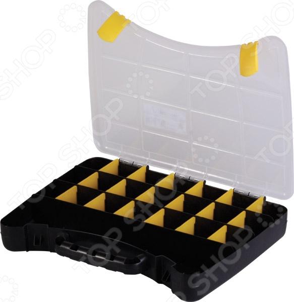 Ящик-органайзер Archimedes 94279Органайзеры. Ящики для крепежей<br>Ящик-органайзер Archimedes 94279 отличное решение для комфортного и организованного хранения различных крепежных материалов, хозяйственных, автомобильных и рыбацких мелочей. Практичный органайзер позволит вместе хранить гвозди, болты и шурупы, а также небольшие рыболовные крючки и другую малогабаритную оснастку. Забудьте о многочисленных мешочках и пакетах, которые могут легко порваться или потеряться. Компактный ящик из прочного и надежного пластика имеет множество отделений. Прозрачная крышка позволяет сразу разглядеть содержимое, не открывая при этом органайзер. Закрывает ящик при помощи специальных защелок.<br>