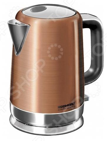 Чайник Redmond RK-M1261Чайники электрические<br>Чайник Redmond RK-M1261 станет отличным дополнением к набору вашей мелкой бытовой техники для кухни. Электрический чайник это прекрасная альтернатива обычному. Среди явных преимуществ можно отметить безопасность использования и значительную экономию времени; вода в таких чайниках закипает за считанные минуты. Корпус чайника выполнен из высококачественной нержавеющей стали. Модель снабжена технологией бесшумного кипячения Strix Quiet Boil, дисковым нагревательным элементом и функцией вращения на подставке на 360 градусов . В приборе предусмотрена многоуровневая система защиты: чайник автоматически отключается при закипании, при недостаточном количестве воды в резервуаре и при снятии с подставки.<br>