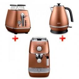 фото Набор приборов для завтрака DeLonghi ECI 341, KBI2001, CTI2103. Цвет: коричневый