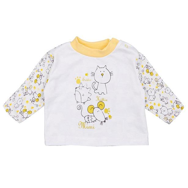 фото Кофточка детская КотМарКот «Кот и мышка». Размер: 80. Цвет: желтый