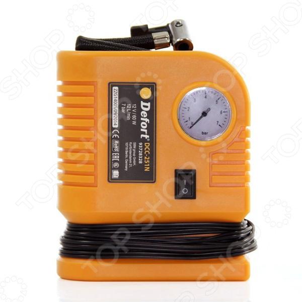 Автомобильный компрессор Defort DCC-251N применяется для накачки автомобильных шин, мячей, надувных матрасов, велосипедных шин и т. д. Компрессор оснащен манометром и штекером для подключения к 12-вольтовому разъему прикуривателя автомобиля. Также снабжен шлангом с быстроразъемным клапаном, имеет специальные отсеки в компактном корпусе для насадок, шланга и кабеля. Автомобильный компрессор Defort DCC-251N прост и долговечен в использовании, обеспечивает устойчивость подачи сжатого воздуха.