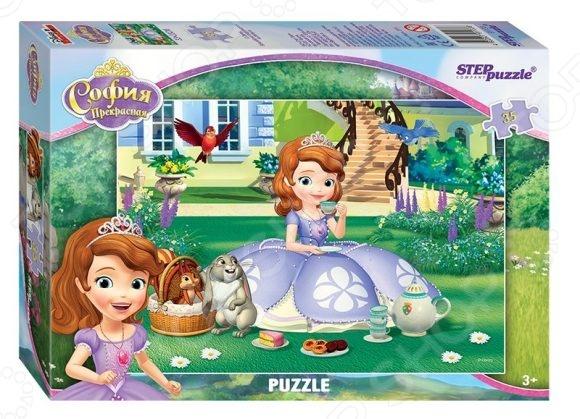 Пазл 35 элементов Step Puzzle «Принцесса София»Пазлы (31–100 элементов)<br>Пазл 35 элементов Step Puzzle Принцесса София замечательная головоломка, которая понравится и детям, и взрослым. Ведь это так увлекательно собирать красивое изображение из небольших элементов словно художник, составляющий мозаику. На поверхность пазла нанесен четкий рисунок высокого качества, поэтому процесс сборки становится простым и приятным, а результат радует глаз. Кстати, готовое изображение может стать отличным украшением для вашего дома, если его наклеить на какую-нибудь плотную основу и использовать в качестве картины.<br>