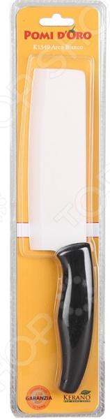 Нож керамический POMIDORO K1549Ножи<br>Нож керамический POMIDORO K1549 надежный и очень острый инструмент из керамики фирмы Kerano. Вы можете быть уверены, что материал лезвия не содержит вредных примесей, которые используются для аналогичных ножей из легированной стали. Главное преимущество керамики также в том, что она не вступает в химическую реакцию с продуктами в процессе резки. В результате вкус пищи остается неизменным, а лезвие не впитывает посторонние запахи. Керамические ножи прослужат очень долго без необходимости дополнительной заточки, если соблюдать несколько простых правил. Первым делом стоит подобрать правильную рабочую поверхность. К примеру, традиционная разделочная доска из дерева прекрасно подойдет для этих целей. Однако лучшим вариантом станет досточка из специального вспененного антибактериального пластика. Не стоит резать замороженные и твердые продукты. Назначение ножа разделочный.<br>