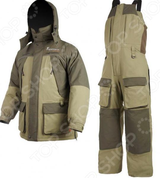 Костюм для рыбалки зимний NOVA TOUR Фишермен v.2 состоит из куртки и комбинезона. У него современный покрой и удобная посадка по фигуре. Эта одежда для зимней рыбалки не просто теплая, но и удобная, ведь вам придется провести в костюме не один час. В костюме использован новый утеплитель Termo MAX, сочетание продуманного покроя и современных технологий обеспечивают отличное сохранение тепла в зимних условиях. Отличительные черты костюма для зимней рыбалки NOVA TOUR Фишермен v.2 :  проклеенные швы отличная защита от попадания воды;  регулировка рукавов и низа брюк по ширине вы защитите себя от попадания снега и воды, а также проникновения холодного воздуха;  регулировка комбинезона по росту;  внешние и внутренние карманы вам удобно будет хранить все мелочи для рыбалки под рукой;  молнии с хлястиками вы сможете открывать карман даже в объемных руковицах;  кольцо для перчаток;  влагостойкость 3000 мм;  регулируемый капюшон позволит свободно надевать шапку любых размеров и даже каску.