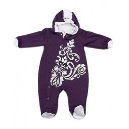 фото Комбинезон для новорожденных с капюшоном на подкладке Ёмаё. Цвет: лиловый