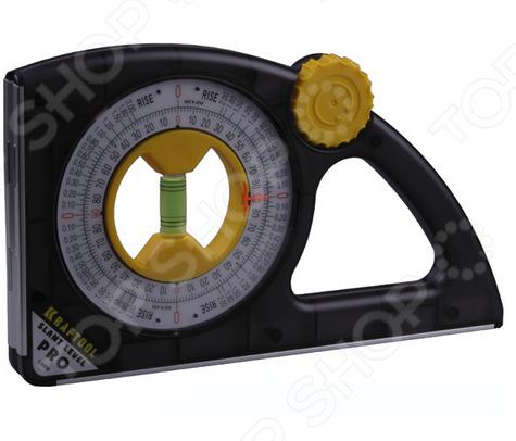 Уровень-угломер Kraftool Pro 1-34850Уровни<br>Уровень-угломер Kraftool Pro 1-34850 инструмент для каждого мастера, предназначенный для получения высокоточного результата при замерах. Используется в слесарных, ландшафтных и строительных работах с целью измерения углов и уклонов поверхностей. Встроенная ампула может поворачивается на 360 C. При необходимости закрепления уровня-угломера KRAFTOOL на трубы, воспользуйтесь V- образным основанием.<br>
