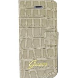 фото Чехол Guess Slim Folio Case Croco для iPhone 5. Цвет: бежевый