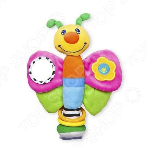 фото Игрушка-погремушка мягкая Жирафики «Мотылек» на присоске, Погремушки. Подвески