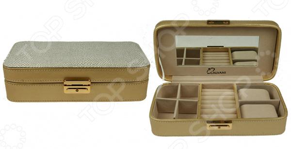 Шкатулка для ювелирных украшений Calvani 83419Шкатулки<br>Шкатулка Calvani 83419 это изящный, модный и очень яркий элемент интерьера. Ее можно использовать для хранения ювелирных украшений, бижутерии, драгоценностей или просто мелких вещей все нужное всегда будет под рукой. Оснащенную центральным замком и встроенным зеркалом модель, можно разместить на окне, журнальном столике или прикроватной тумбочке. Элегантная форма и классическая цветовая гамма изделия придадут любому помещению еще большей гармонии, эмоциональной наполненности и добавят нотку романтичности. Более того, дизайн шкатулки позволяет использовать ее как самостоятельный элемент декора. Шкатулка Calvani 83419 является прекрасным подарком для ваших любимых, родных и близких. Правила ухода: регулярно удалять пыль сухой, мягкой тканью.<br>