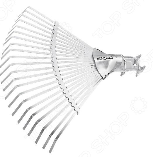 Грабли веерные регулируемые без черенка PALISAD 61702Грабли<br>Грабли веерные регулируемые без черенка PALISAD 61702 это незаменимый инструмент, который необходим каждому владельцу частного дома. С их помощью вы можете собирать скошенную траву, опавшую листву или плоды, использовать в качестве разрыхлителя для почвы. Металлические грабли отличаются повышенной жесткостью, поэтому подойдут для работы с дерном. Можно отметить следующие достоинства этого садового инструмента:  Грабли применяются для чистки газонов от скошенной травы или листьев, при этом, не повреждая сам газон.  Зубья выполнены из пружинной стали 65Г и имеют повышенную жесткость, что обеспечивает удобство в работе.  Секторная пластина сдвижная, позволяет изменять охват рабочей части и дополнительно упрочняет конструкцию.  22 плоских зуба, охват рабочей части от 320 до 470 мм.<br>