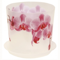 фото Кашпо с поддоном IDEA «Деко. Орхидея». Диаметр: 12,5 см. Объем: 1,2 л