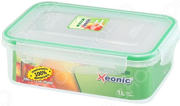 Контейнер для продуктов Xeonic XE055Контейнеры для продуктов и ланч-боксы<br>Контейнер для продуктов Xeonic XE055 идеальное решение для хранения самых разнообразных продуктов или готовых блюд. Вместительная емкость с герметичной крышкой надолго сохранит свежесть, аромат и аппетитный вид пищи. Такой контейнер можно использовать и в качестве ланч-бокса, и как переносную емкость для еды, если вы планируете пикник. Полезные свойства:  Использование качественных натуральных материалов;  Герметичность;  Легкость очищения;  Компактные размеры;  Возможность мытья в посудомоечной машине;  Приятный дизайн. Контейнер выполнен из пищевого пластика и силикона. Эти материалы прекрасно взаимодействуют с продуктами питания, легко очищаются, не впитывают запахи и устойчивы к воздействию масел и жиров. Благодаря термической устойчивости контейнер с пищей можно хранить в морозильной камере или разогревать в микроволновой печи. Крышка контейнера закрывается при помощи четырех защелок, что предотвращает вытекание содержимого и формирует в емкости необходимые условия для длительного хранения пищи.<br>