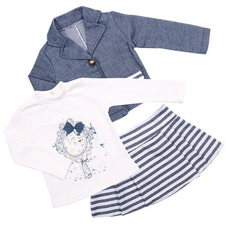 Купить Комплект для девочки: юбка, пиджак и толстовка Estella ЯВ109822. Цвет: синий