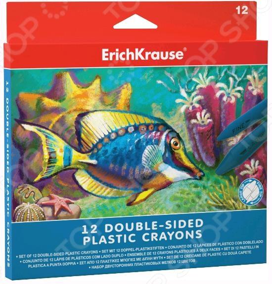 Набор мелков пластиковых Erich Krause 34928Мелки<br>Набор мелков пластиковых Erich Krause 34928 - 2-х сторонние пластиковые мелки с трехгранным корпусом. Эргономичный корпус мелков удобно ложится в руку. С ними ваш ребенок сможет научиться правильном располагать пальцы и рисовать без напряжения в руках. Имеет 2 наконечника различной толщины, которые позволяют раскрашивать и обрисовывать мелкие детали. Водоустойчивость основы сохраняет яркость рисунка на длительное время. В наборе находится 12 мелков.<br>