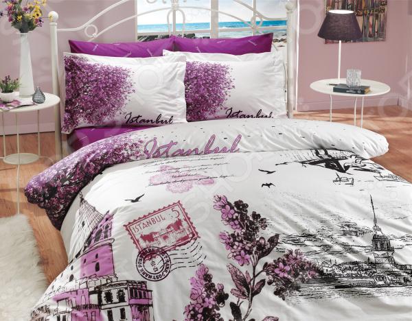 Комплект постельного белья Hobby Home Collection Istanbul Panaroma. Цвет: фиолетовый. 2-спальный2-спальные<br>Как известно, треть своей жизни человек проводит во сне. Именно поэтому, то, насколько бодрым и активным будет ваше завтрашнее утро, напрямую зависит от того, насколько комфортным и полноценным был ваш ночной отдых. Не последнюю роль в этом, наряду с покупкой ортопедического матраса и удобной мягкой подушки, играет также и выбор качественного постельного белья. Стильно, комфортно, качественно Комплект постельного белья Hobby Istanbul Panaroma это сочетание стильного дизайна и прекрасного качества исполнения. Он не только внесет яркий акцент в интерьер вашей спальни, но и добавит ей индивидуальности и особого домашнего уюта. В набор входит пододеяльник, простыня и четыре, разные по размеру, наволочки.  Постельное белье выполнено из поплина ткани, отлично зарекомендовавшей себя в пошиве домашнего текстиля. Он на 100 состоит из хлопка и отличается легкостью, воздухопроницаемостью и устойчивостью к истиранию. Ткань отлично впитывает влагу, не электризуется и не скользит во время сна. По своим характеристикам поплин напоминает бязь, однако, на ощупь он гораздо более мягкий и гладкий. Постельное белье Hobby это:  натуральные гипоаллергенные ткани;  использование стойких нетоксичных красителей;  большой выбор дизайнов и расцветок. Ткани и готовые изделия производятся на современном импортном оборудовании и отвечают европейским стандартам качества. Стирать белье рекомендуется в деликатном режиме без использования агрессивных моющих средств.<br>