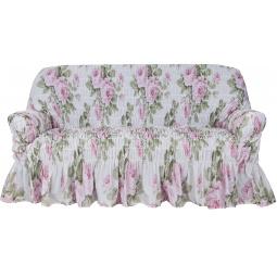 Натяжной чехол на трехместный диван «Фантазия. Чайная роза»