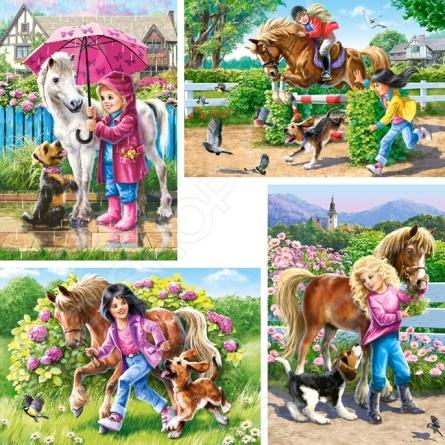 Набор пазлов 4 в 1 Castorland «Девочка и лошадь»Другие виды пазлов<br>Набор пазлов 4 в 1 Castorland Девочка и лошадь - красочный веселый пазл для девочек. Такой пазл, с крупными деталями самый хороший выбор для ребенка. Собирание пазла способствует развитию логического мышления, учит различать предметы по цвету, форме и развивает мелкую моторику рук ребенка. Такой пазл станет отличным подарком для вашего ребенка. Также готовый пазл можно будет разместить в качестве декоративной картины в любой комнате. Необычный дизайн подойдет под любой интерьер.<br>