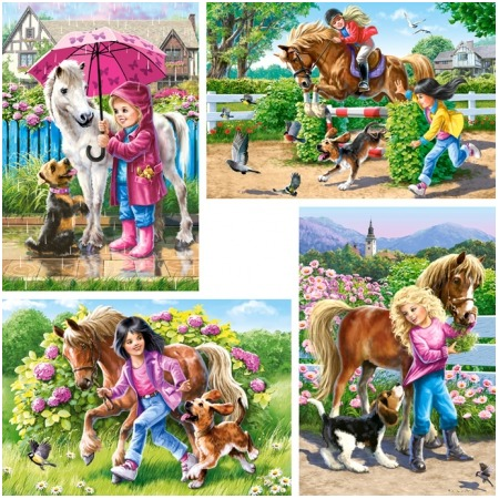 Купить Набор пазлов 4 в 1 Castorland «Девочка и лошадь»
