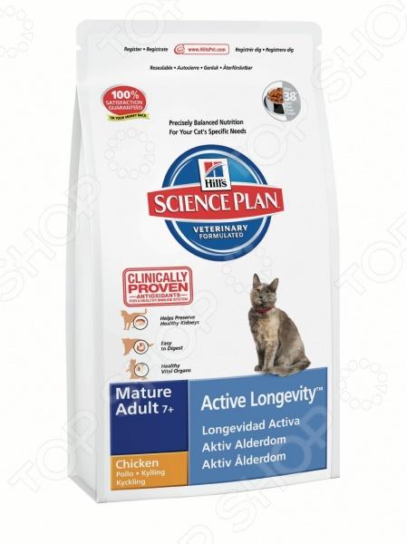 Корм сухой для пожилых кошек Hill's Science Plan Mature Adult 7+ с курицей сухой корм hill s science plan active longevity mature adult 7 with lamb