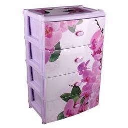 Купить Комод 4-х секционный широкий Альтернатива «Орхидеи»