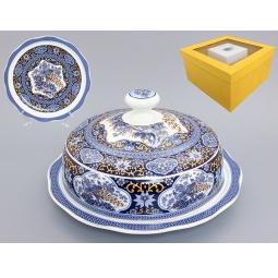Купить Блюдо с крышкой Elan Gallery «Павлин синий»