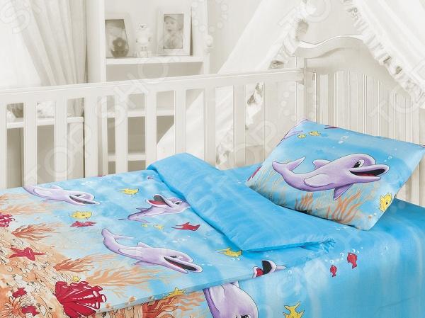 Детский комплект постельного белья Облачко «Дельфины»