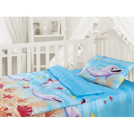 Купить Детский комплект постельного белья Облачко «Дельфины»